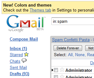 Nový Gmail - spam box